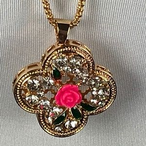 Betsey Johnson Necklace Rose Flower Pink Gold Tone